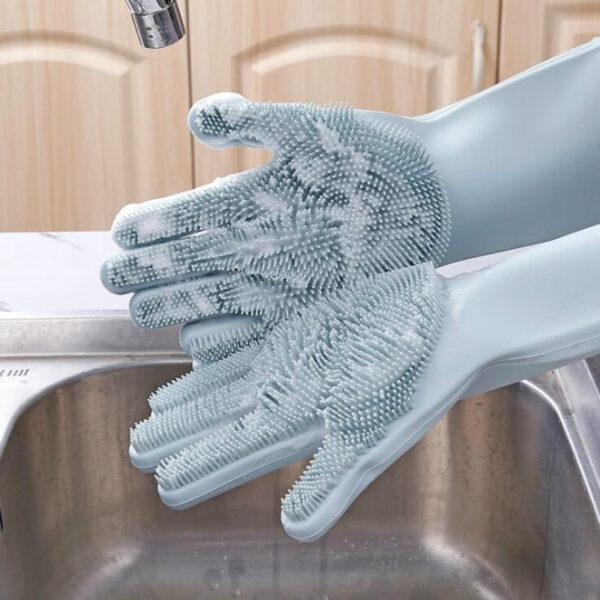 Luvas Para Lavagem de Louça de Silicone